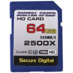 Digital Speed 2500X 64GB Professional High Speed Mach III 350MB/s Error Free (SDHC) HD Memory Card Class 10